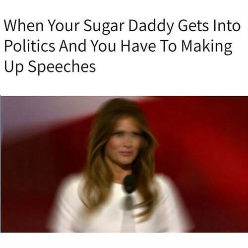 When a sugar baby has to make a speech as first lady